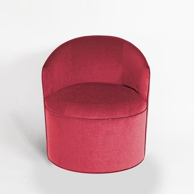 Art Deco Vintage Barrel Chairs Reupholstered in Hardy Cotton Cerise Pink Velvet - Set of 4 For Sale - Image 3 of 6