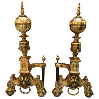 English Lion Head Georgian Style Andirons - a Pair For Sale