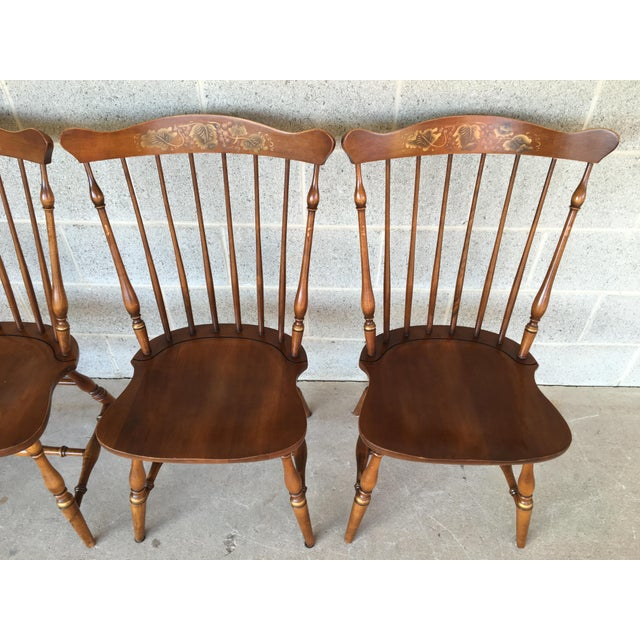 L Hitchcock Windsor Fan Back Maple Dining Chairs Set Of