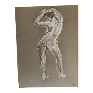 1984 Standing Female Nude Studio Drawing For Sale
