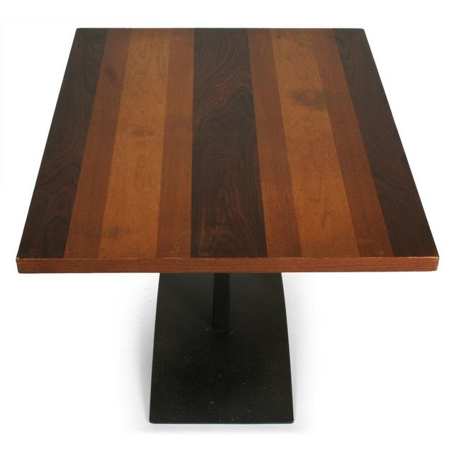 Thayer Coggin Milo Baughman Rosewood & Black Iron Occasional Table For Sale - Image 4 of 7