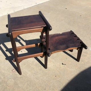 1970s Vintage Angel Pazmino Pegged Wooden Leather Bench and Table Preview