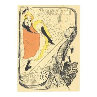 """HENRI DE TOULOUSE-LAUTREC Jane Avril 13"""" x 9.5"""" Lithograph For Sale"""