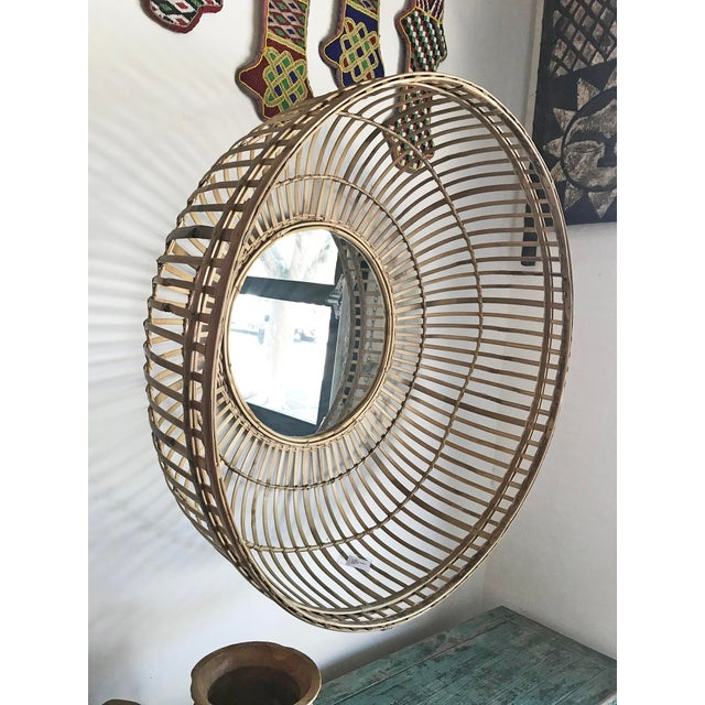 Tan Bamboo Basket Mirror For Sale - Image 4 of 6