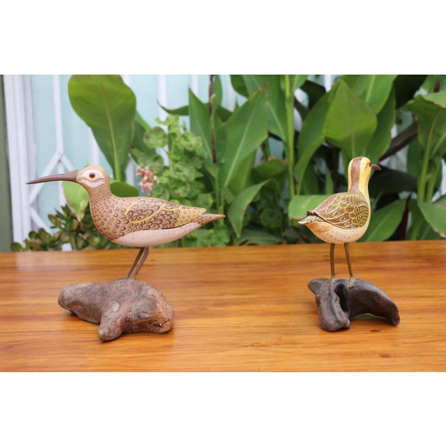 Folk Art Shorebird Sculptures - A Pair For Sale - Image 5 of 7