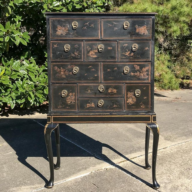Asian 19th Century Ebonized & Hand-Painted Chinoiserie Raised Cabinet For Sale - Image 3 of 12