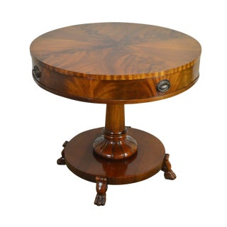 Flame Mahogany Vintage Round Regency Style Drum or Center Table For Sale