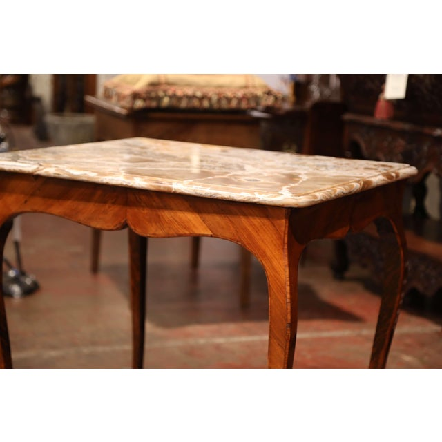 White 18th Century French Louis XV Mahogany Occasional Table With Marble Top For Sale - Image 8 of 9