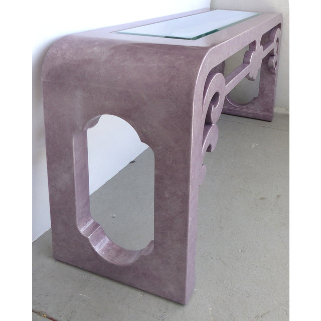 Inset Glass Top Scrolled Console Table - Image 5 of 9