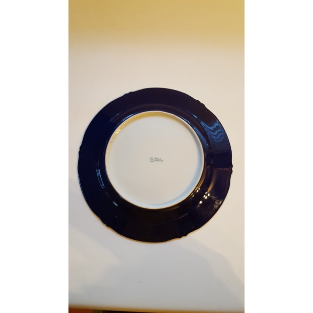 Antique Nippon Signed Colbalt Blue & Gold Gilted Porcelain Collector Plate For Sale - Image 4 of 5