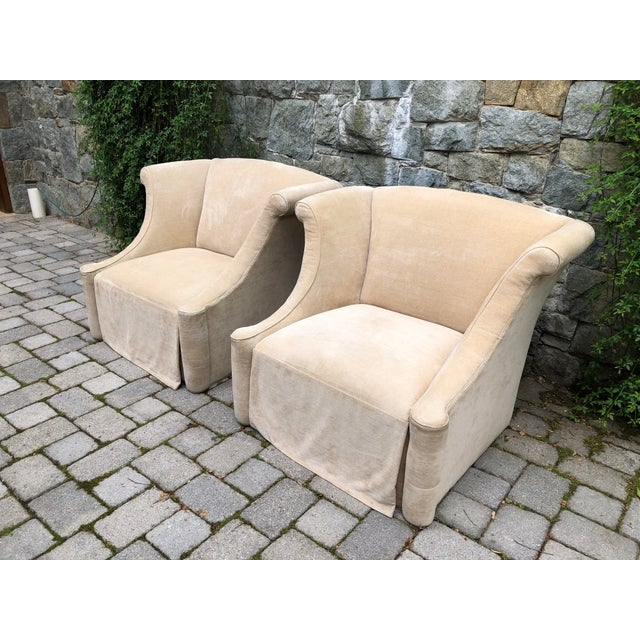 2010s Modern Upholstered Lounge Chairs- A Pair For Sale - Image 5 of 12