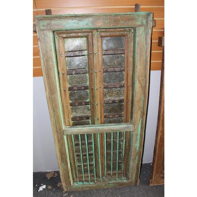 Rustic Vintage Indian Carved Teak Wood Green Solid Wooden Jharokha Window Door For Sale - Image 3 of 6