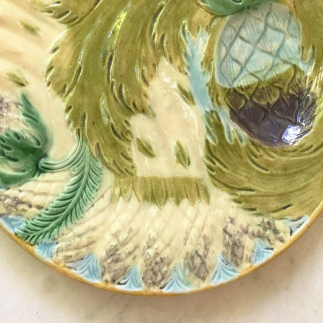Late 19th Century 1880s Majolica Asparagus Plate Attributed to Saint Amand For Sale - Image 5 of 10