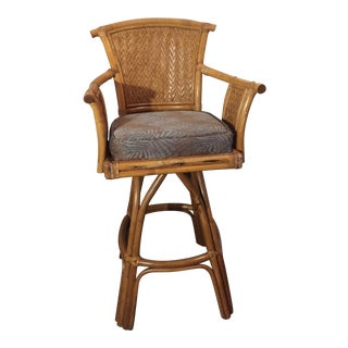 Vintage Whitecraft Rattan Swivel Barstool For Sale