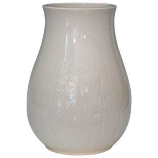 Antique Japanese Carved Studio Blanc De Chine Porcelain Vase For Sale