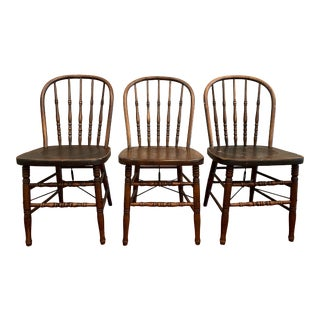 Antique Industrial Primitive Farmhouse Spindle Chairs by Heywood Wakefield - Set of 3 For Sale