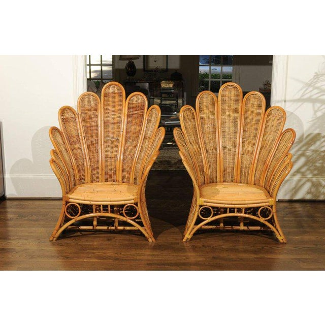 Majestic Restored Pair of Vintage Rattan and Wicker Palm Frond Club Chairs For Sale In Atlanta - Image 6 of 13