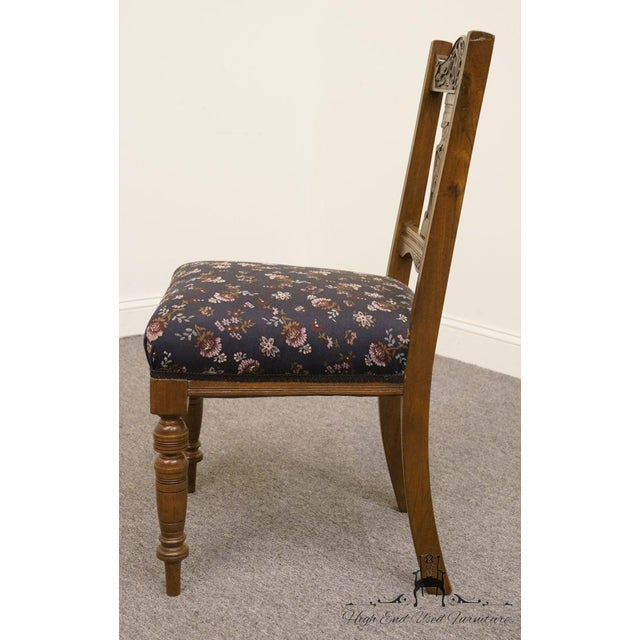 1940s 1940's Antique Jacobean Gothic Revival Walnut Dining Side Chair For Sale - Image 5 of 8