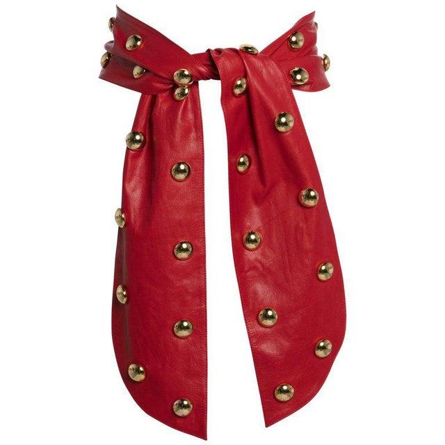 1980s Yves Saint Laurent Red Leather Gold Stud Sash Belt For Sale - Image 9 of 9