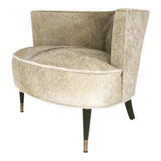 Brazilian Cowhide Upholstered Vintage Barrel Chair For Sale