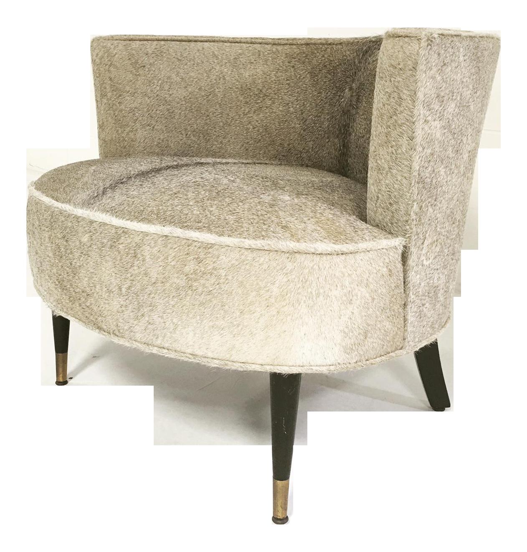 Brazilian Cowhide Upholstered Vintage Barrel Chair   Image 1 Of 6
