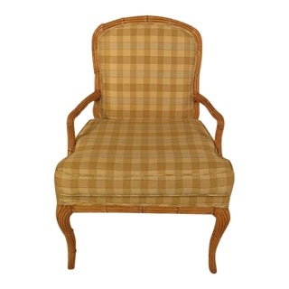 Bamboo Style Plaid Upholstered Open Arm Chair For Sale