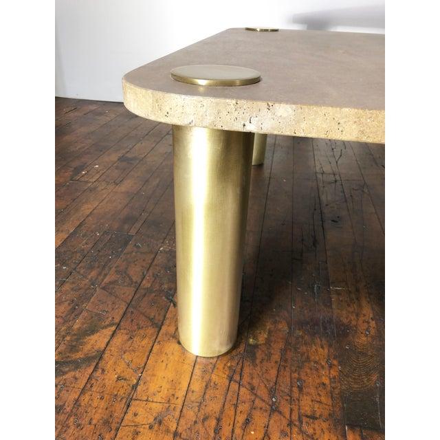 Mid-Century Modern 1970s Mid-Century Modern Karl Springer Travertine & Brass Coffee Table For Sale - Image 3 of 7