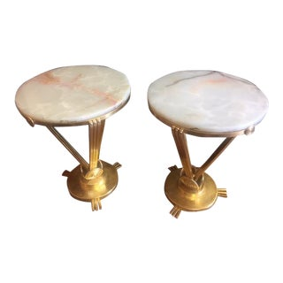 1930's French Deco Round Tables With Oynx Tops - a Pair For Sale
