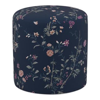 Drum Ottoman in Navy Bamboo Garden For Sale