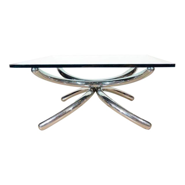 Italian Mid-Century Modern Coffee Table with Sculptural Base Design For Sale