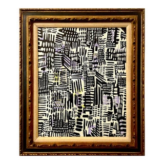 Contemporary Abstract Cityscape Framed Painting For Sale