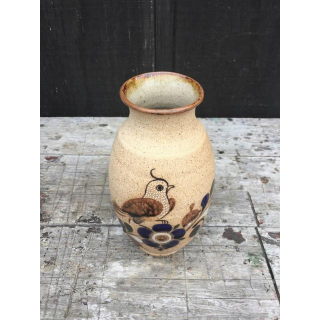 Hand Painted Bird Vase For Sale - Image 6 of 9