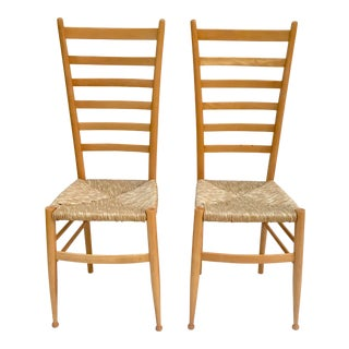 Italian Gio Ponti Style Ladderback Chairs - a Pair For Sale