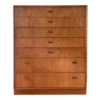 1970s Founders Mid Century Oak Seven Drawer High Chest For Sale