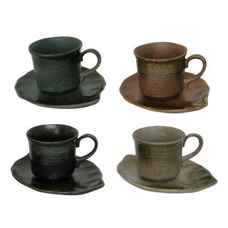 Japanese Hand-Glazed Stoneware - 8 Pieces For Sale