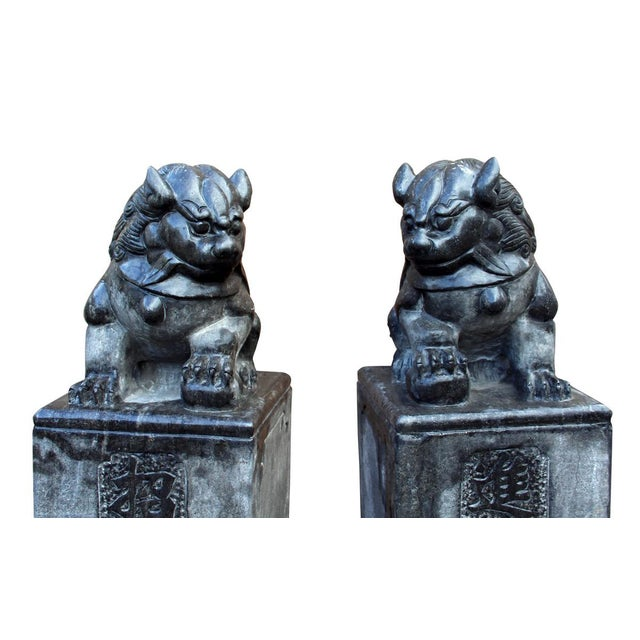 Chinese Gray Stone Fengshui Pedestal Foo Dog Statues - A Pair For Sale - Image 4 of 6