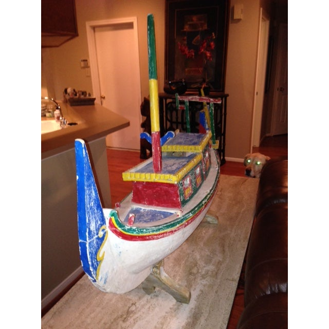 Decorative Vintage Children's Wood Boat with Stand - Image 3 of 11