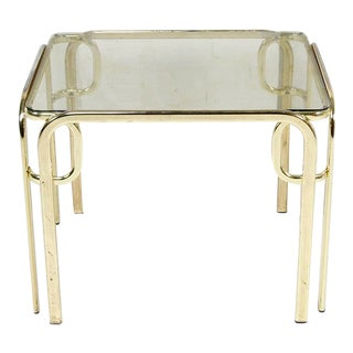 Vintage Italian Small Glass and Brass Coffee/Side Table For Sale