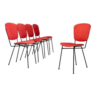 Set of MidCentury Five Chairs Produced Doro Cuneo in Iron and Fabric, 1960s. For Sale