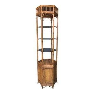 Vintage Boho Chic Bamboo Etagere For Sale