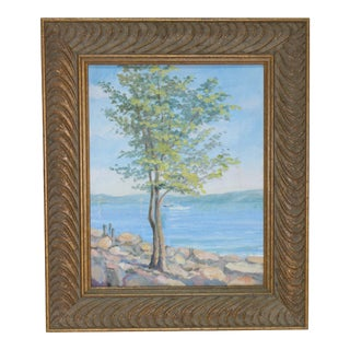 "Vintage Oil Painting ""Piermont Hudson View"" Listed Artist John Elliot, Opa. For Sale"