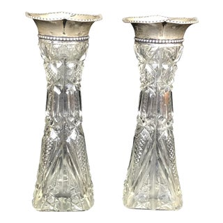 American Brilliant Period Cut Glass & Sterling Bud Vases - a Pair For Sale