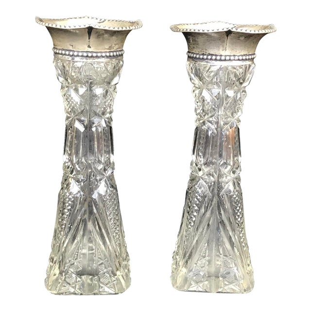 American Brilliant Period Cut Glass Sterling Bud Vases A Pair