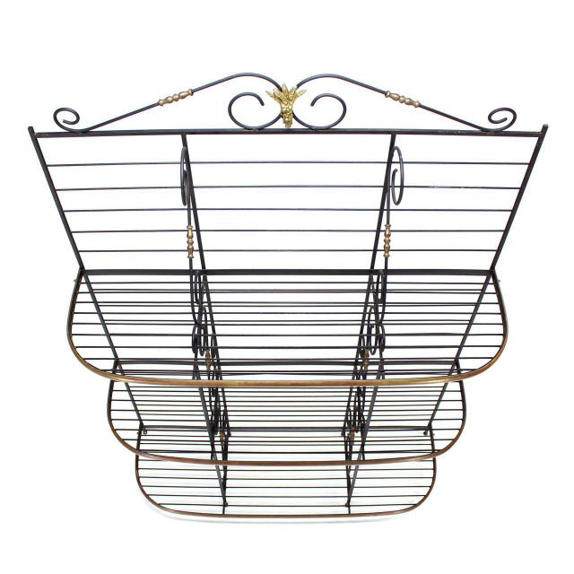 Early 20th Century Metal Scrolls Brass Trim Design Large Extra Wide Baker's Rack For Sale - Image 5 of 5