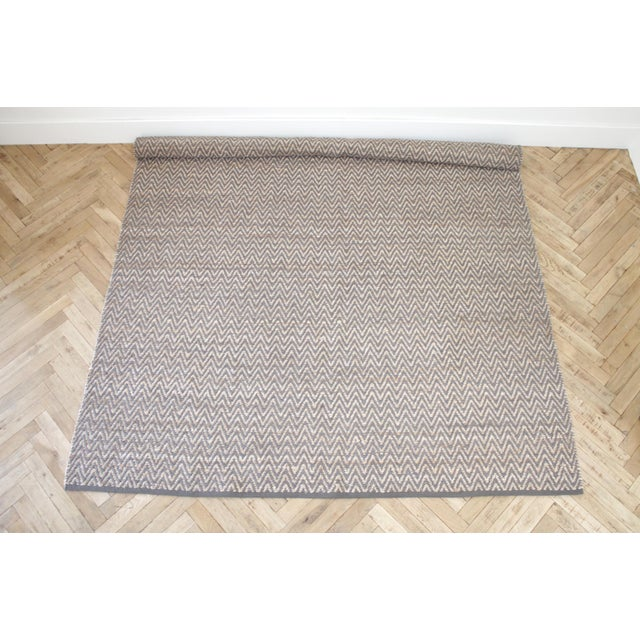 Textile Modern Chevron Gray Wool and Natural Fiber Rug 8x10 For Sale - Image 7 of 7