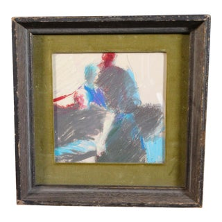 1967 Modernist Figurative Pastel Drawing by Joan Savo, Framed For Sale