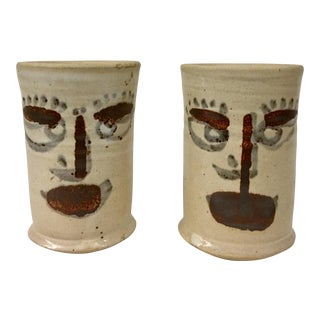Artisan Hand Turned Stoneware Mugs - a Pair