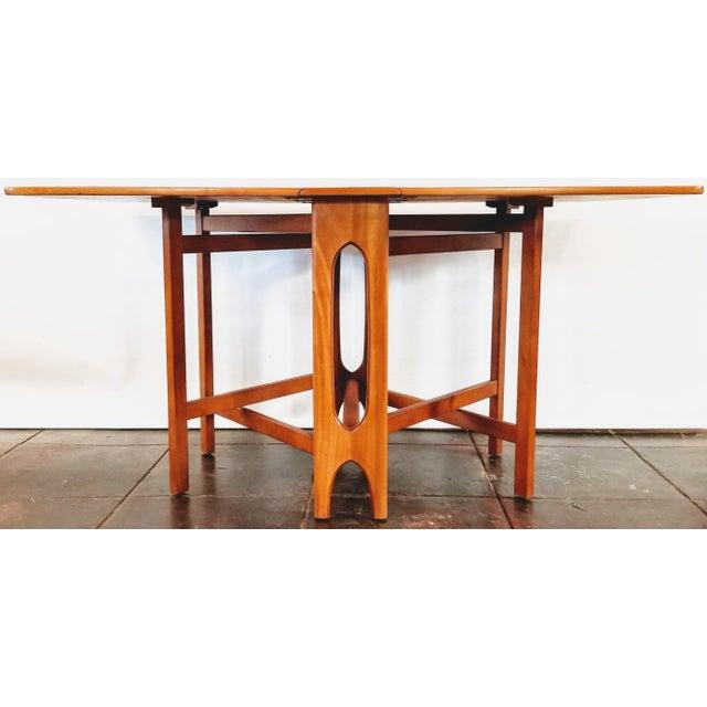 "Mid-Century Modern Vintage 1960s Mid-Century Norwegian Modern Bendt Winge ""Ellipse"" Style Gate-Leg Drop-Leaf Table For Sale - Image 3 of 11"