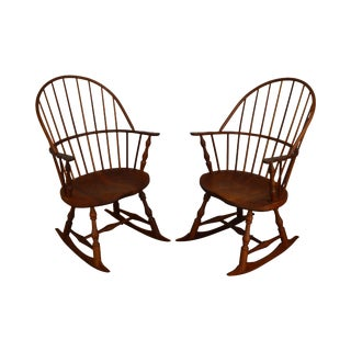 Martins Chair Shop Inc Bench Made Solid Cherry Sackback Pair Windsor Rockers (E) For Sale
