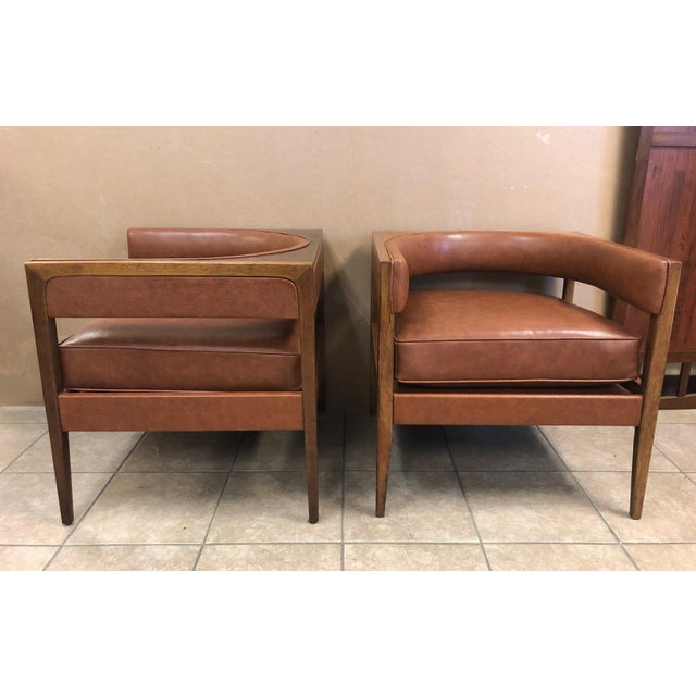 Pair Mid Century Modern Walnut Lounge Chairs For Sale - Image 9 of 9